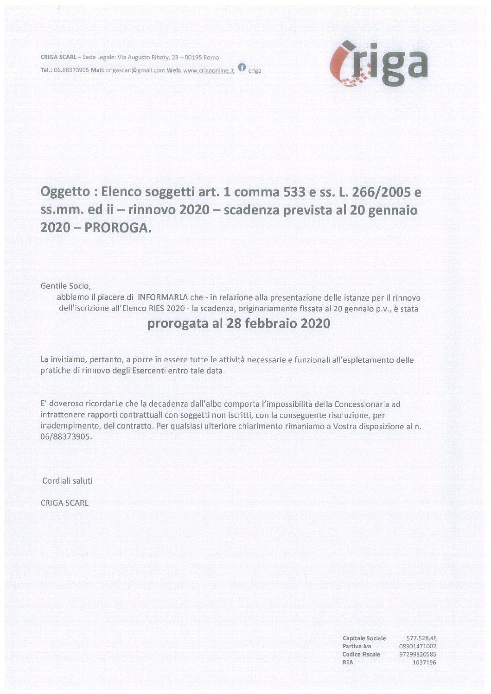 Oggetto : Elenco soggetti art. 1 comma 533 e ss. L. 266/2005 e ss.mm. ed ii – rinnovo 2020 – scadenza prevista al 20 gennaio 2020 – PROROGA.