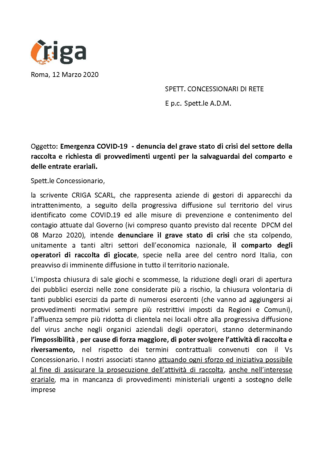 EMERGENZA COVID-19 STATO DI CRISI